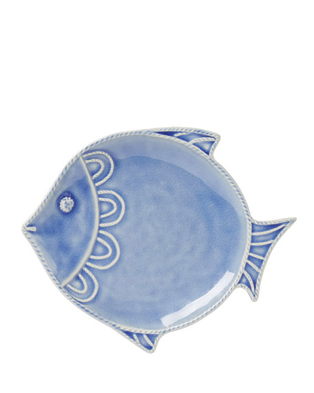 "Berry & Thread Delft Blue Crackle ""Fish"" Dessert/Salad Plate"