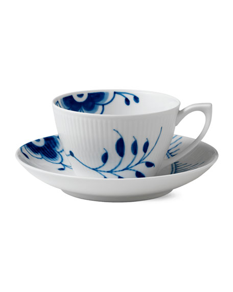 Royal Copenhagen Blue Fluted Mega Cup and Saucer
