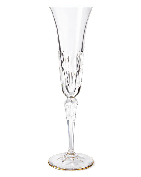 Saint Louis Crystal Stella Champagne Flute with Gold Rim