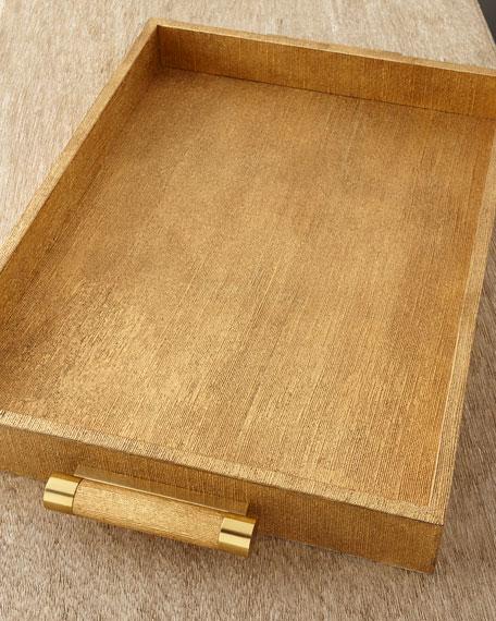 Gold Linen Rectangular Tray