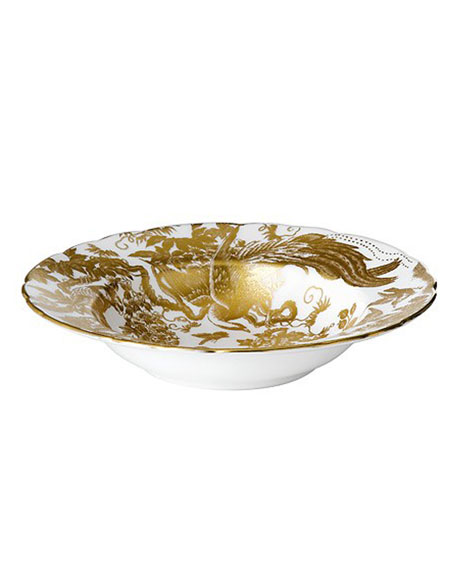 Royal Crown Derby Gold Aves Rim Soup Plate