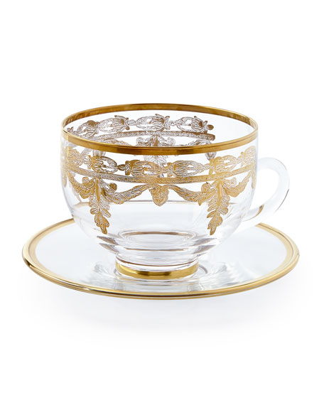 Arte Italica Vetro Gold Cup and Saucer