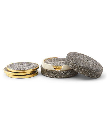 AERIN 4 Embossed Faux-Shagreen Coasters