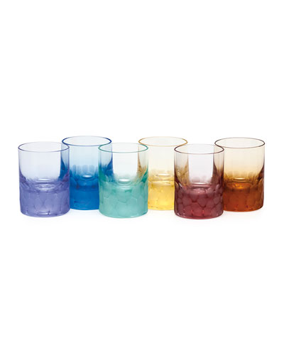 Set of Six Pebbled Crystal Shot Glasses