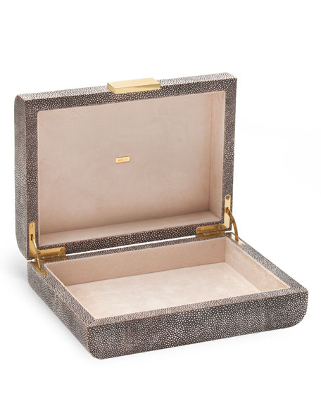 AERIN Small Chocolate Faux-Shagreen Jewelry Box