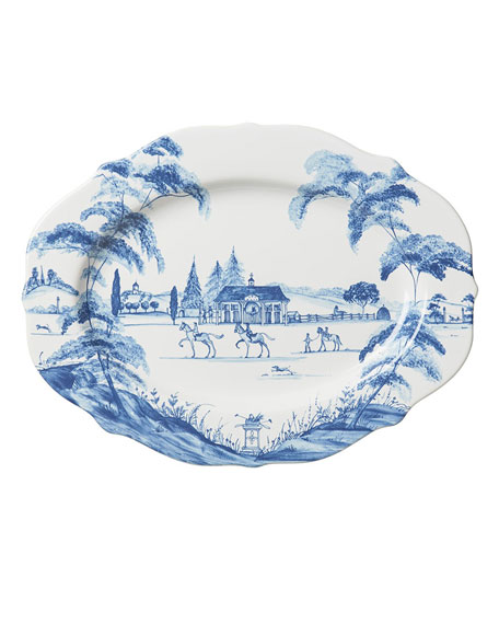 "Country Estate Delft Blue 15"" Oval Platter"