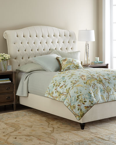 Harper Tufted Ivory Velvet California King Bed