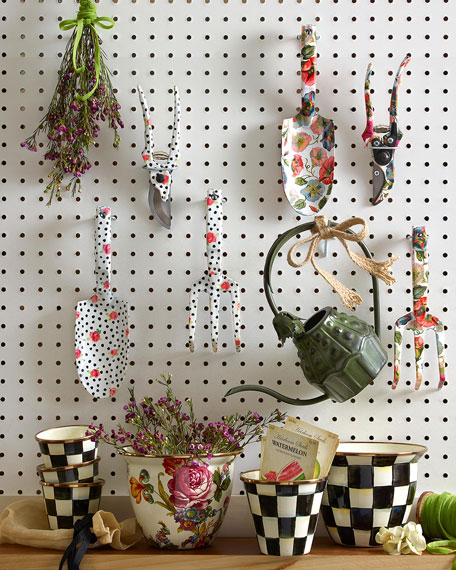MacKenzie-Childs Courtly Check Enamel Flower Pot