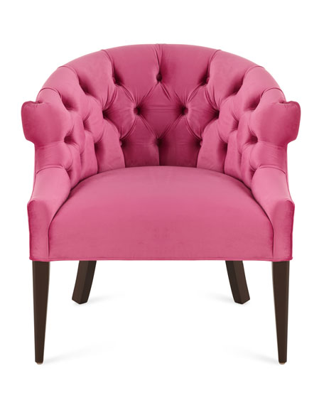 Image 3 of 3: Haute House Melina Tufted-Back Chair, Pink