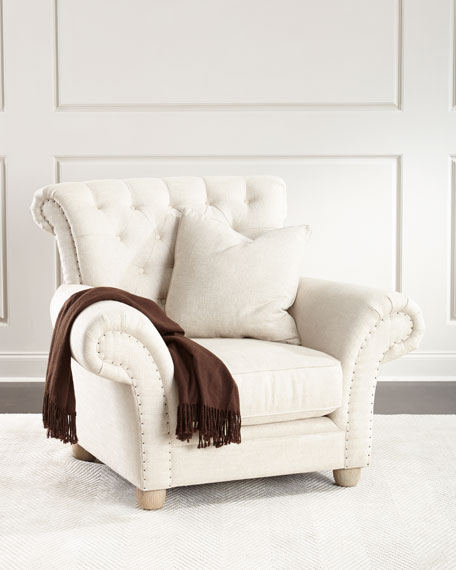 Dorothy Tufted Back Chair, Ivory