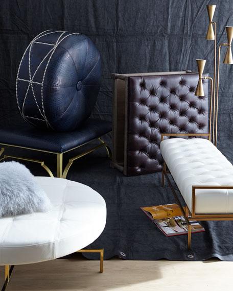 Carlton Tufted Leather Ottoman