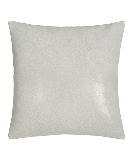 "Clear Lacquer Print Leather Pillow, 16""Sq."