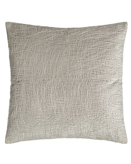 "Metallic Embroidered Velvet Pillow, 18""Sq."