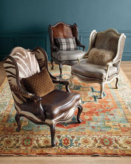 Massoud Meg Leather Wingback Chair