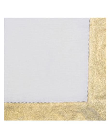 Nomi K Shimmer-Border Linen Napkin, Gold