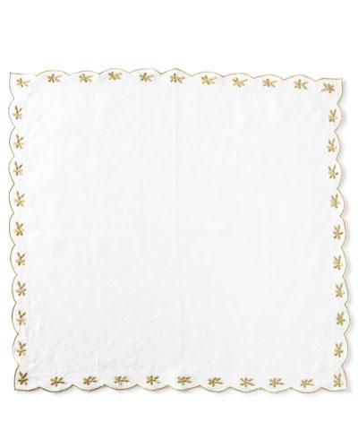 Flower-Embroidered Linen Napkin  Gold