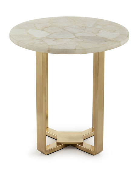 kendall white quartz side table. Black Bedroom Furniture Sets. Home Design Ideas
