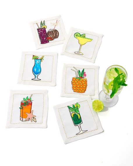 Summer Drinks Cocktail Napkins, Set of 6