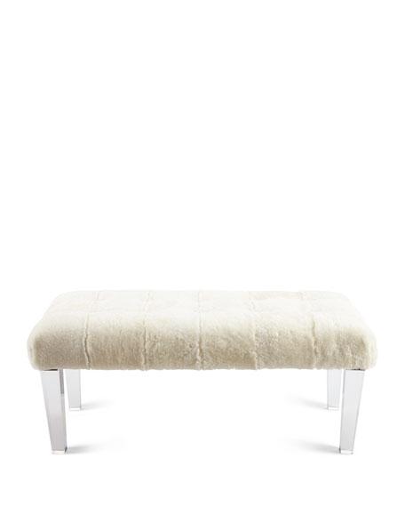 Massoud Jaselyn Shearling Bench, Ivory