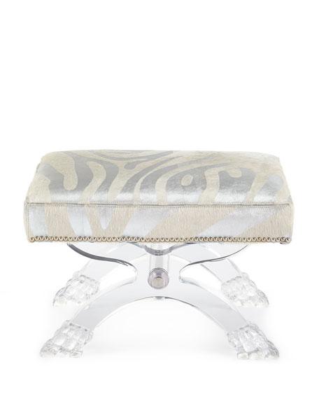Massoud Braddock Silver Zebra-Stripe Ottoman, Gray/White