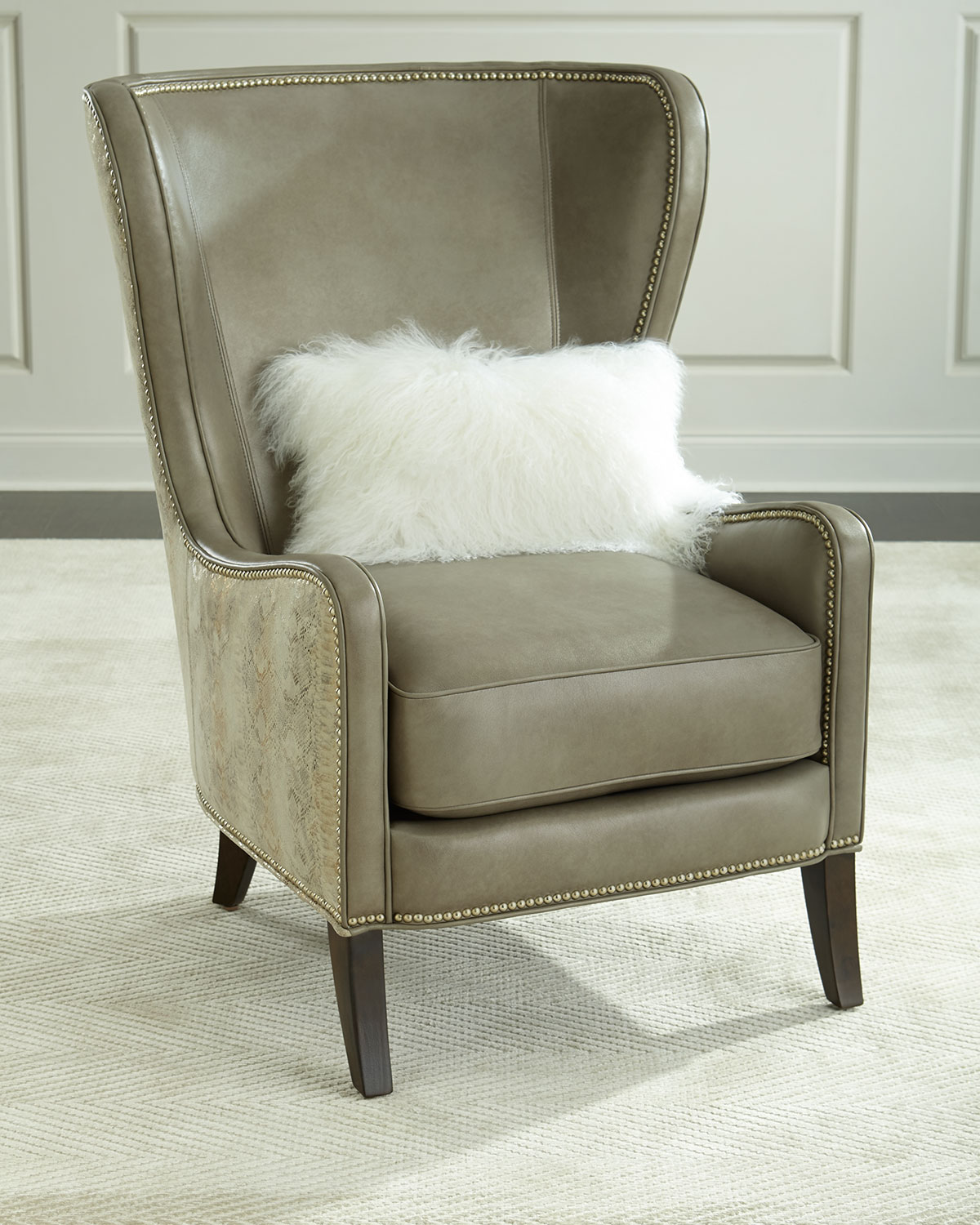 Pelham Leather Wingback Chair Gray Metallic