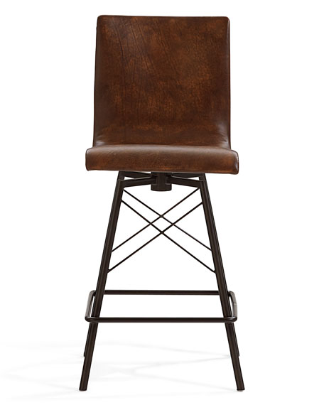 Image 2 of 3: Tiago Leather Counter Stool