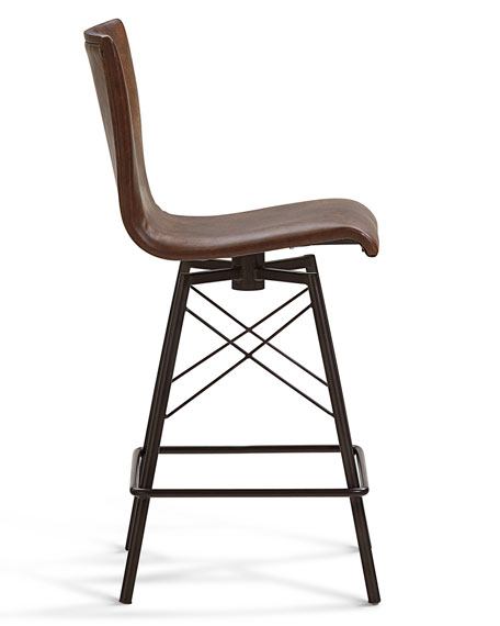 Image 3 of 3: Tiago Leather Counter Stool