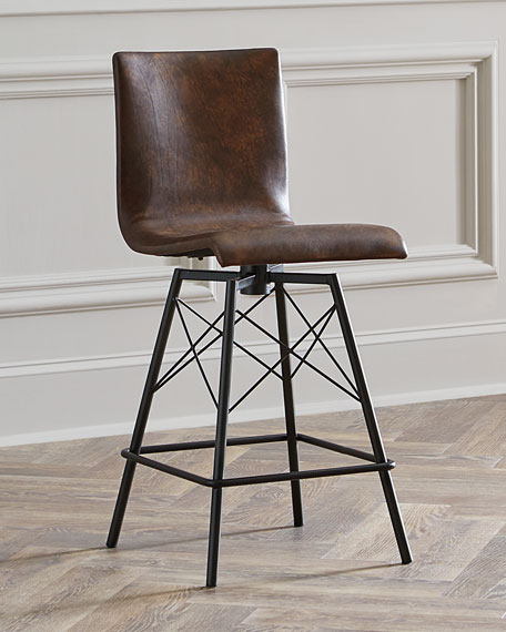 Image 1 of 3: Tiago Leather Counter Stool