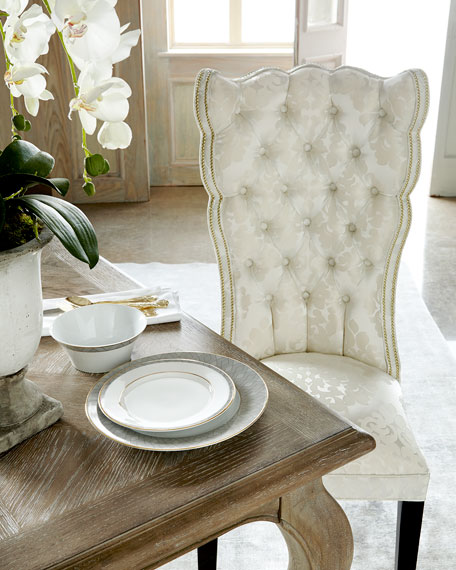 Image 2 of 5: Haute House Pantages Damask Dining Chair, Ivory