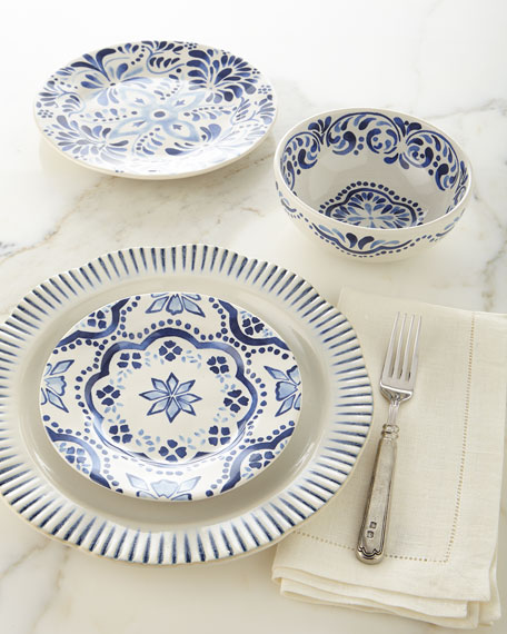 Sitio Stripe Indigo Dinner Plate