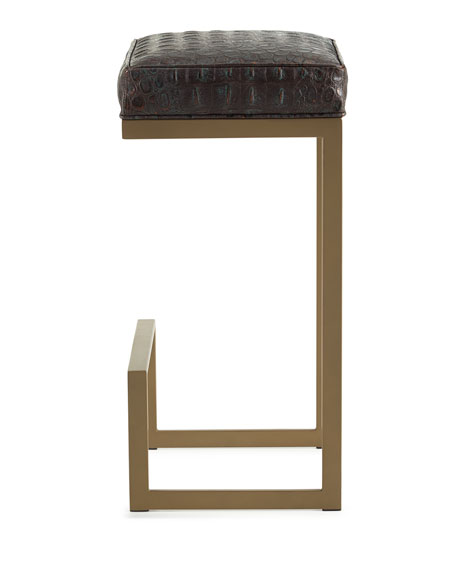 Image 2 of 4: Old Hickory Tannery Halian Metal Bar Stool, Bronze