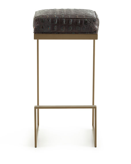 Image 3 of 4: Old Hickory Tannery Halian Metal Bar Stool, Bronze
