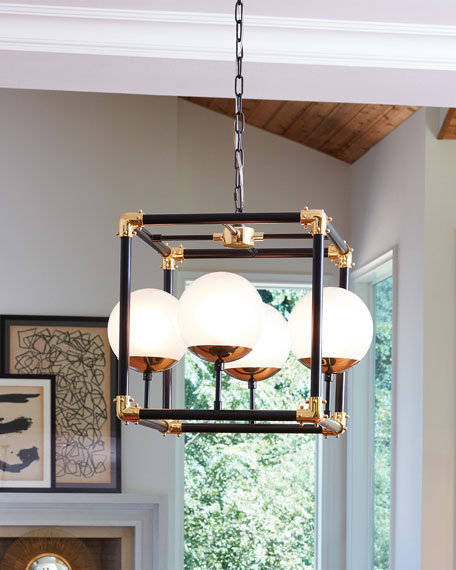 Image 2 of 2: Global Views Globe-in-Square Pendant Light