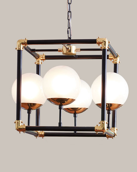 Image 1 of 2: Global Views Globe-in-Square Pendant Light