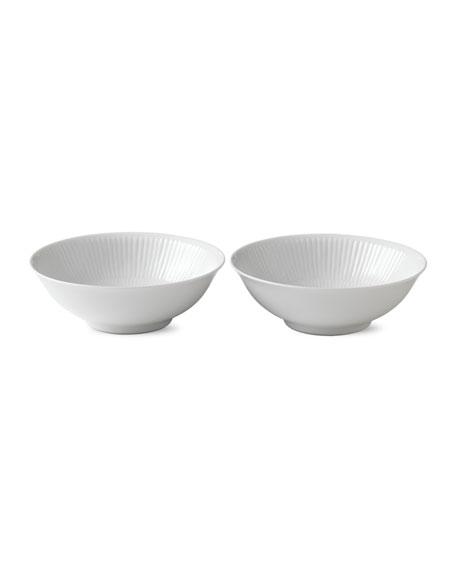 Royal Copenhagen White Plain Fluted Cereal Bowl, Set of 2