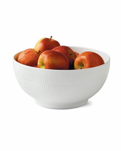 White Fluted Plain Large Salad Bowl