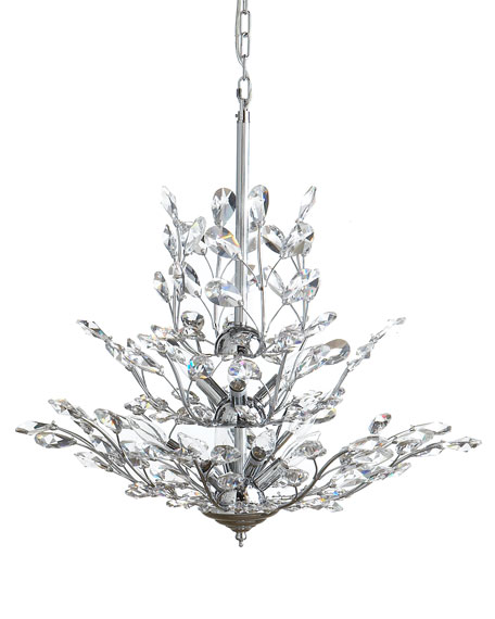 Upside-Down 9-Light Silver-Leaf Chandelier