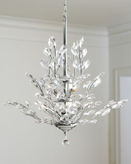 UpsideDown Light SilverLeaf Chandelier Neiman Marcus - Chandelier leaves crystals
