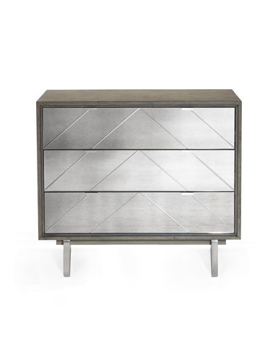 Layna Chevron-Mirrored Side Chest