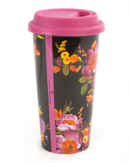 MacKenzie-Childs Black Flower Market Travel Cup