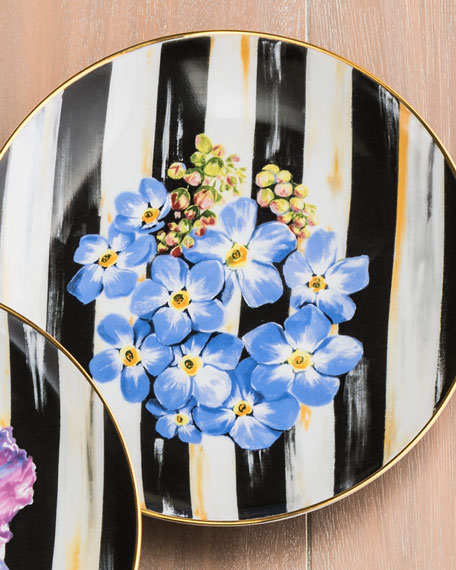 MacKenzie-Childs Forget-Me-Not Thistle & Bee Salad Plate