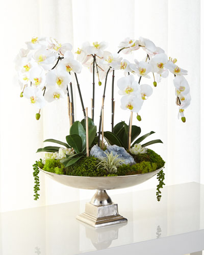 Orchids & Succulents Faux Floral Arrangement