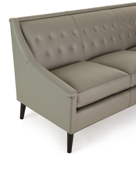 Gerald Tufted-Back Leather Sofa