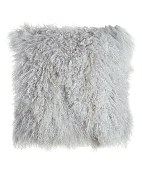 Fog Gray Tibetan Lamb Pillow