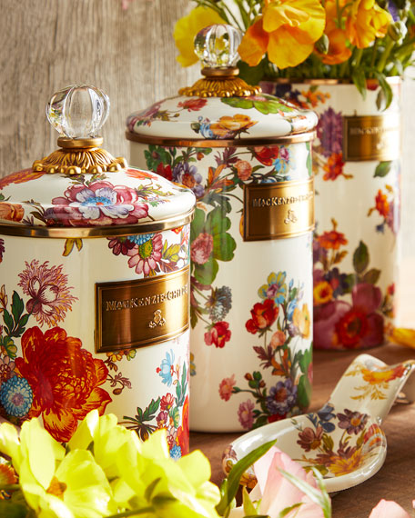 Image 2 of 2: MacKenzie-Childs Small Flower Market Canister