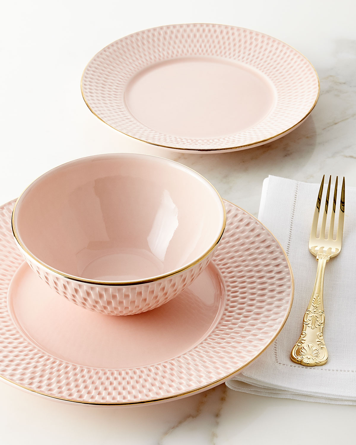 Neiman Marcus Pink Home Decor Ebth: 12-Piece Pink Basketweave Dinnerware Service