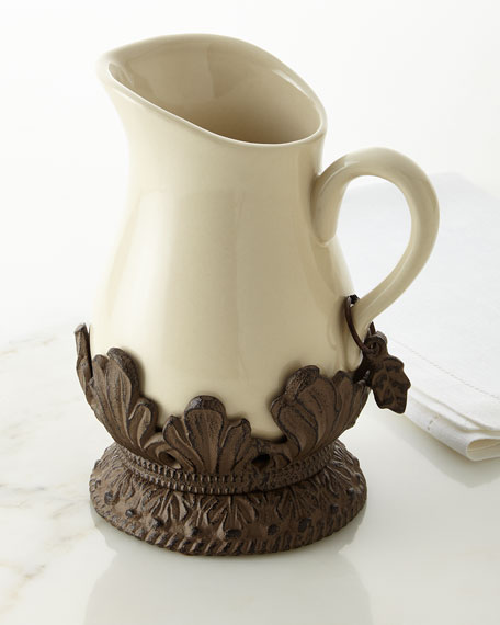 G G Collection Cream Ceramic Pitcher