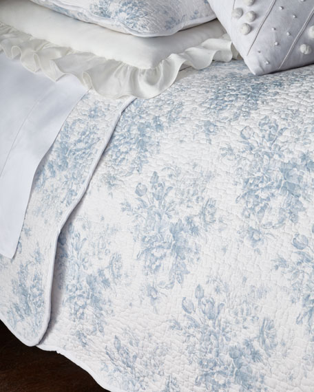 Twin 2-Piece Rose Toile Quilt Set