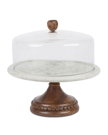 G G Collection Marble, Wood & Glass Cake