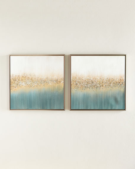 Golden fog original painting set of 2
